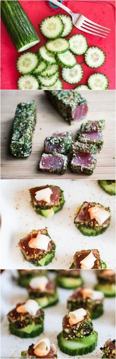 Spicy Tuna Avocado Cucumber Appetizers with Pickled Ginger ~ these little bites are amazing! http://jeanetteshealthyliving.com