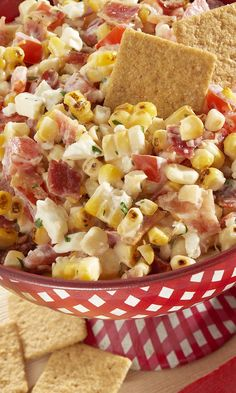 #FourthOfJuly Grilled Corn & Bacon Dip paired with WHEAT THINS is sure to be the feel-good hit at your next summer party.