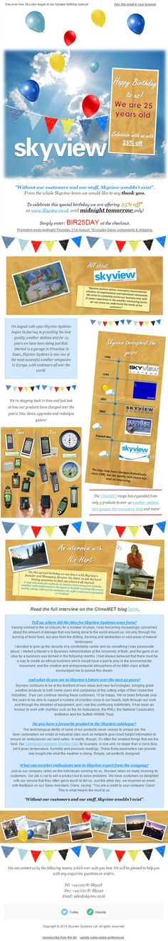 Skyview eNews August 2015: 25% off to celebrate 25 years of business. Discover how Skyview began in our bumper Birthday special.