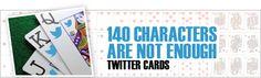 Twitter Cards – 140 Zeichen sind nicht genug! Das #140-Zeichen-Limit von #Twitter wird durch die Twitter #Cards stark relativiert: insbesondere #Blogger und #Online-Shops haben gute Möglichkeiten ihre #Beiträge/Produkte intensiv bei potentiellen Lesern/Kunden zu bewerben....