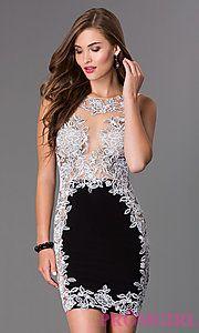 Buy Short Sleeveless Lace JVN by Jovani Dress at PromGirl