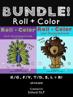 You will SAVE $1.50 buying the bundle vs. buying the packets separately!This ROLL + COLOR ***BUNDLE*** Articulation Packet is a dice activity great for practicing the earlier developing speech sounds, K/G, T/D, F/V, S, R and L! There are 69 pages (ALL black and white printable coloring sheets) which can be used for speech therapy, larger classroom centers, special education classrooms, parents, and intervention teachers!