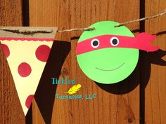 Ninja Turtle Pizza Birthday Party Banner / by TickledTurquoiseLLC