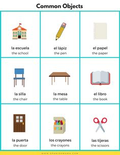 Spanish for Kids: Vocabulary for Common Objects, Body Parts, & Actions