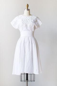 Rocaile Blanche Dress:  vintage 1980s white cotton soutache dress
