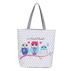 Floral And Owl Printed Canvas Tote Female Casual Beach Bags