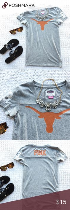 PINK University of Texas Longhorn Crew Tee Preloved but still in good condition and ready for a new home :) PINK Victoria's Secret Tops Tees - Short Sleeve College Sweatshirts, University Of Texas, Texas Longhorns, Victoria Secret Pink, Pink Ladies, Victoria's Secret, Football, Tees, Sleeve