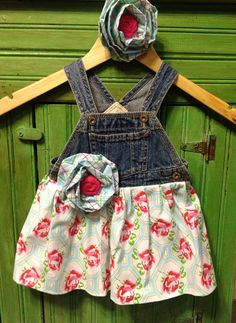 Floral Overall Dress with Matching Flower by FunkyJunkyPeacock, $24.00