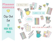 These hand-drawn adorable planner illustrations and quotes will add some sweet whimsey to your next project. These illustrations would also make adorable stickers! ...just saying :)  This clip art set contains: 22 separate high resolution (300dpi) .png images, suitable for web or print  ***This is a design resource intended for individuals familiar with using .png type files. These are image files with transparent backgrounds and need to be placed/inserting into a program if you desire ...