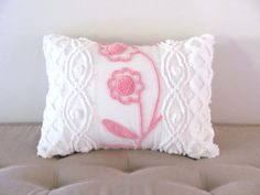 Pink pillow cover CLIMBING ROSES vintage by moreChenilleChateau, $59.00