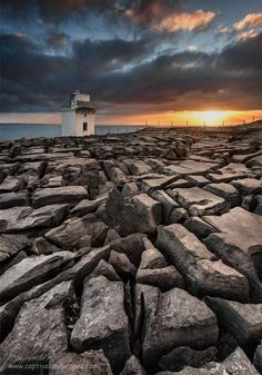 Blackhead Lighthouse located on the coast, in the burren, County Clare, Ireland.