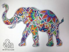 Elephant ~ Art By Sia, watercolor Watercolor And Sharpie, Elephant Watercolor, Watercolor Painting, Arte Sharpie, Sharpie Doodles, Zentangle Elephant, Zentangle Animal, Elephant Love, Indian Elephant Art