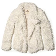 Hollister Faux Fur Coat ($60) ❤ liked on Polyvore featuring outerwear, coats, white, fake fur coats, cold weather coats, white faux fur coats, waterfall coats and imitation fur coats