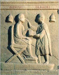 Oculista examinando a un paciente (Roma, s. II). Museo della Civiltà Romana.