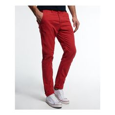 Superdry Rookie Chinos (€58) ❤ liked on Polyvore featuring men's fashion, men's clothing, men's pants, men's casual pants and red