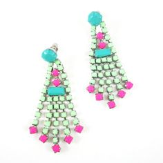 mint, teal, and neon pink earrings