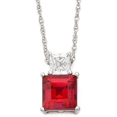 Lab-Created Ruby & White Sapphire Pendant Sterling Silver Necklace ($62) ❤ liked on Polyvore featuring jewelry, necklaces, sterling silver jewelry, square pendant, ruby pendant, rope chain necklace and ruby necklace