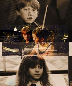 Ron and Hermione -I love how he looks at her so differently from the first time they met.