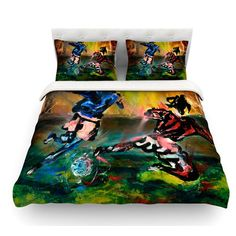 East Urban Home Slidetackle by Josh Serafin Soccer Featherweight Duvet Cover Size: Twin