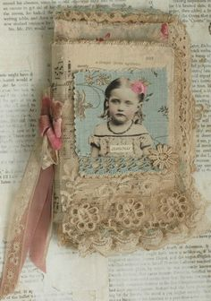 Mixed Media Fabric Collage Book of French Girls and Roses | eBay