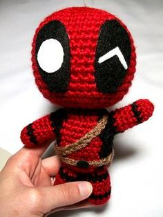 """This chibi Deadpool crochet pattern will give you step-by-step instructions on crocheting your very own """"Merc with a Mouth"""". This pattern is meant for the Beginner-Intermediate skill level of crocheters. I will gladly provide any assistance needed, so if you have any questions just let me know."""