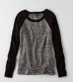 True Black AEO Colorblock Sweater
