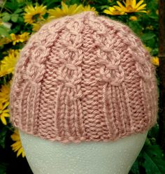 Hand Knit Baby Hat Newborn to 6 Months Mock Cable Antique Rose by NortherNights on Etsy