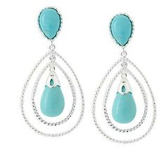 Turquoise and Rope Detail Sterling Dangle Earrings