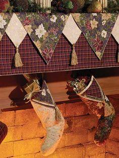 Sewing - Holiday & Seasonal Patterns - Christmas Patterns - Mantel Cover & Stockings