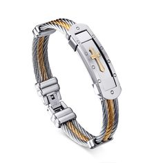 ZT New Stainless Steel Men Bangle Gold Plated Cross Selling Europe And The United States Cable Male Bracelet For Man 25