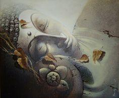 Buddha - Handpainted Art Painting - X Tiny Buddha, Buddha Zen, Buddha Buddhism, Buddha Artwork, Buddha Wall Art, Sun Painting, Buddha Painting, Buddha Drawing, Buddhist Philosophy
