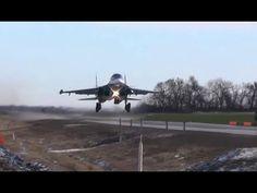 Впервые Су-34 и два Су-30М2 совершили посадку на автотрассу