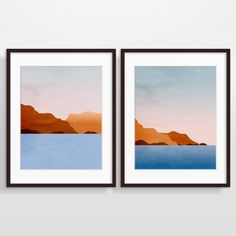 Abstrait paysage Wall Art Print Set plage Decor moderne par evesand