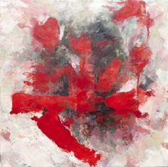 Broken Heart Contemporary Encaustic Painting by Kara Brook