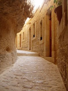 A narrow alley within the Monastery of the Temptation (Quruntal). This ancient monastery is perched along the liffs of Mount Temptation, near Jericho, where Jesus spent 40 days and 40 nights