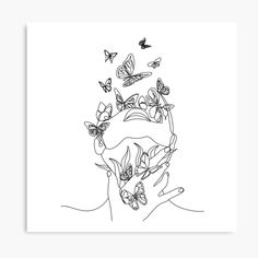 Abstract face with butterfly by one line drawing. Nature symbol of cosmetics. Modern continuous line art. Beaty salon art by OneLinePrint Abstract Line Art, Abstract Faces, Line Art Flowers, Butterfly Line Drawing, Line Drawing Art, Botanical Line Drawing, Nature Symbols, Outline Art, Face Outline