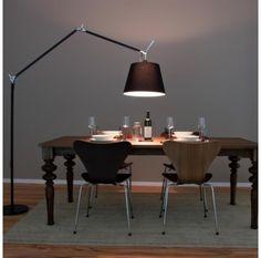 Artemide Tolomeo Mega Terra Black Floor Lamp Insitu For Dining Room Design