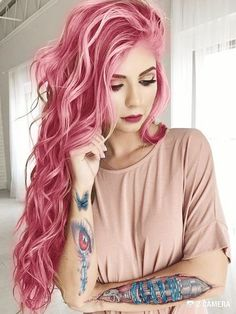 30 Best Rose Pink Hair Looks - Rose Pink Hair Color Trend The Effective Pictures We Offer You About Beauty - Rose Pink Hair, Hair Color Pink, Pastel Hair, Cool Hair Color, Ombre Color, Bright Pink Hair, Bright Coloured Hair, Dyed Hair Pink, White Ombre Hair