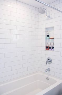 white subway tile gooseneck shower niche Kohler bathtub bathroom remodel renovation An inside look at our total bathroom renovation and the design process behind it! White Subway Tile Bathroom, Bathroom Tub Shower, Bathroom Renos, Bathroom Renovations, Bathroom Interior, Bathroom Ideas, Master Bathroom, White Tile Shower, Bathroom Remodeling