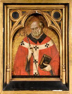 Barnaba da Modena, Saint Nicolas  Panneau de prédelle, peinture à l'œuf et fond d'or sur panneau de bois rectangulaire, 33 x 25,3 cm