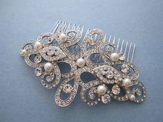 Bridal Hair Comb,SWAROVSKI Crystal and Pearl Wedding Hair Comb,Vintage Inspired Wedding Hair Comb,Bridal Wedding Hair Accessory,headband   FOR MERE