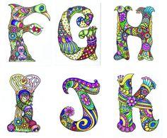 Alphabet F-K by Sheila Arthurs Tangle Doodle, Tangle Art, Doodles Zentangles, Zen Doodle, Zentangle Patterns, Doodle Art, Alphabet Art, Alphabet And Numbers, Letter Art