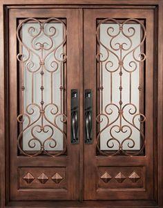 64x82 Victorian Iron Double Door. Beautiful Wrought Iron Front Entry Door  With Grille From Door
