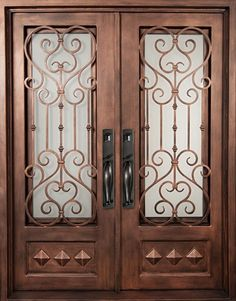 64x82 Victorian Iron Double Door. Beautiful wrought iron front entry door with grille from Door Clearance Center.