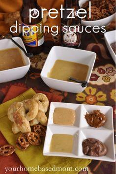 Pretzel Dipping Sauces and Football Party Ideas @yourhomebasedmom.com  #superbowl, #recipes, #football