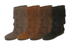Minnetonka Calf Hi 3-Layer Fringe Boots (Multiple Colors) $93.99 #SouthernFriedChics