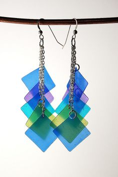 Colorful Earrings made from Pardo Translucent Art Clay, via Flickr.