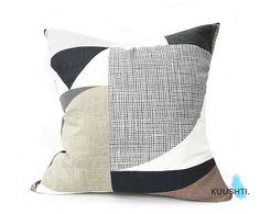 Khaki Brown Pillow Geometric Pillow Modern Pillow Gray