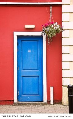 A house with a blue front door