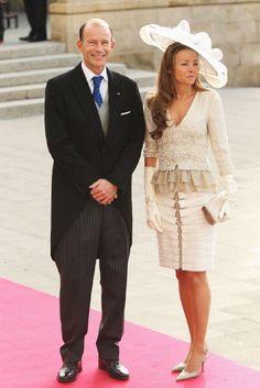 Oct 20 - Prins Cyril van Bulgarije en Prinses Miriam van Bulgarije bij het huwelijk van Guillaume en Stephanie in Luxemburg.